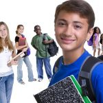 teenagers with backpacks and school books