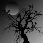 crow in a tree under a full moon