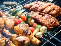 Barbecue grill meats and vegetables