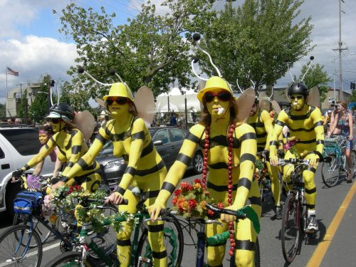 Fremont Solstice body painted nude cyclists