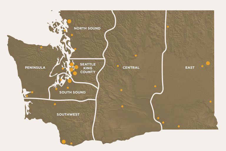 Washington State breweries map