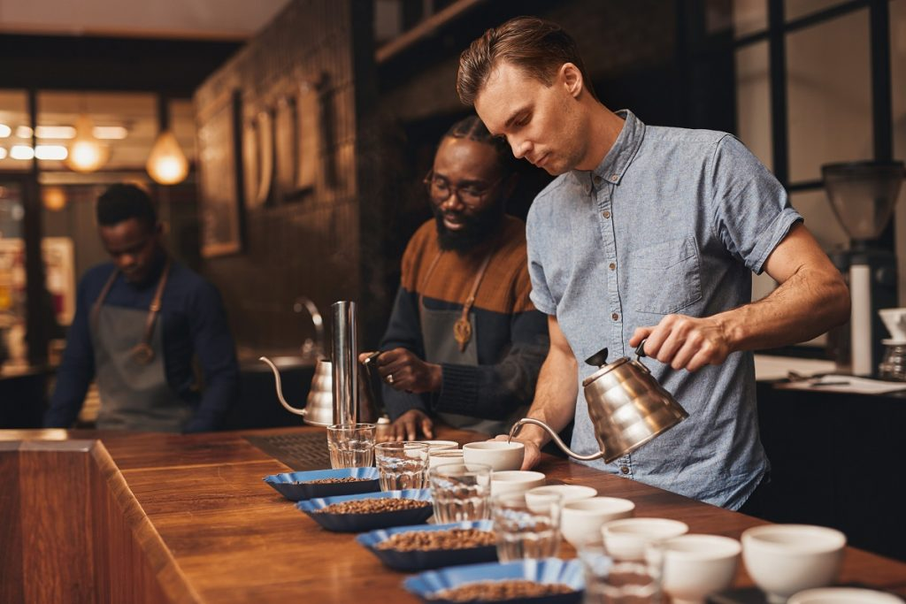 setting up a coffee tasting