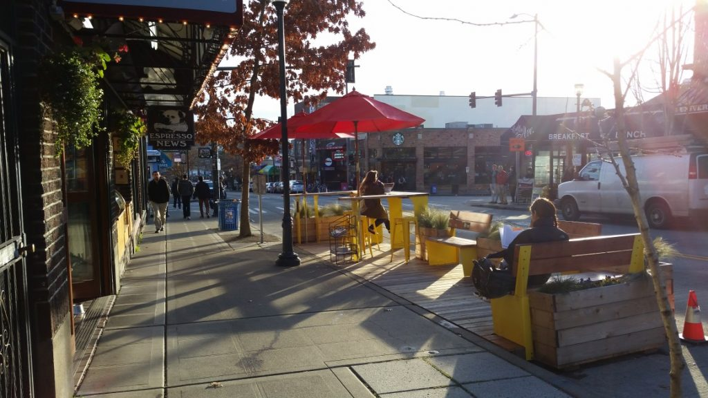 SDOT parklet at Bulldog News in the University District