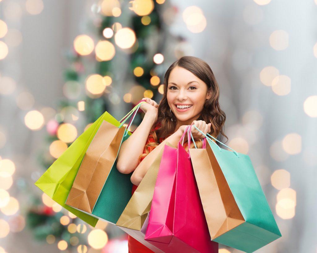 woman holiday shopping