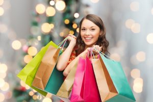 woman holiday shopping