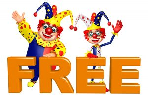 Clowns with Free sign