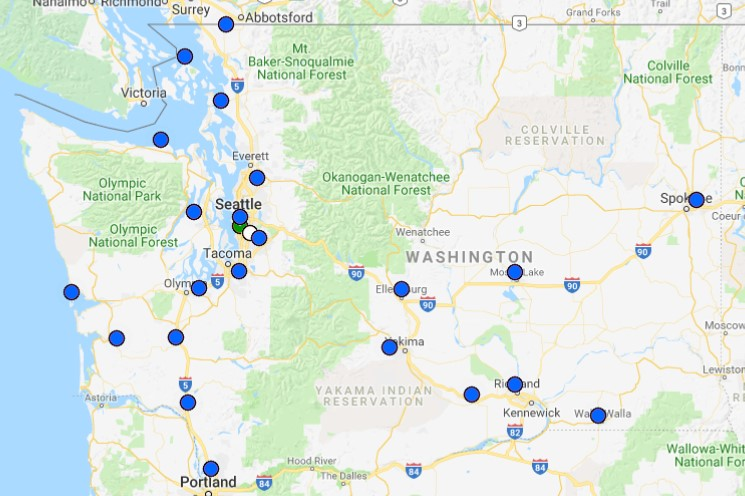Map of EAA Chapters in Washington State