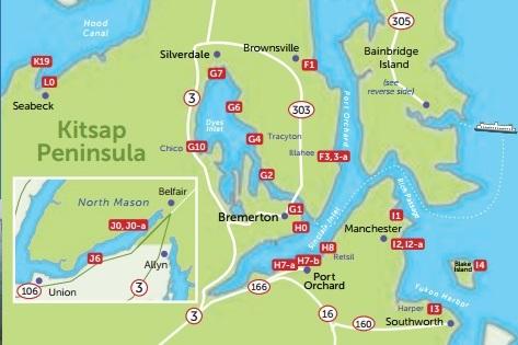 Kitsap Peninsula Water Trail partial map
