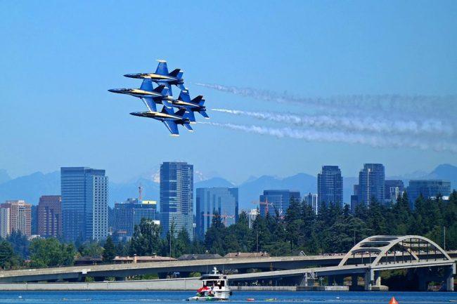 Blue Angels Navy Jets over Lake Washington Seattle