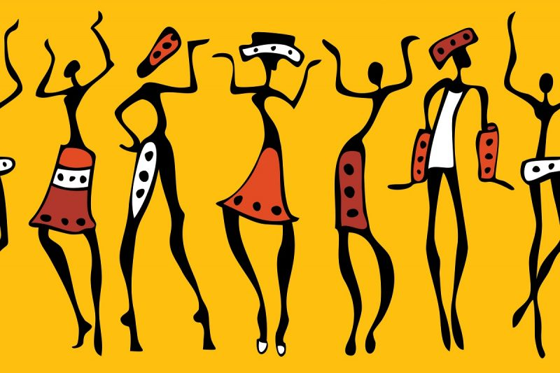 African dancers silhouette