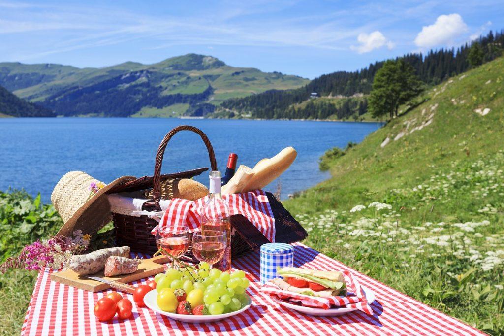 picnic by an alpine lake