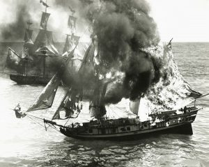 old ship burning