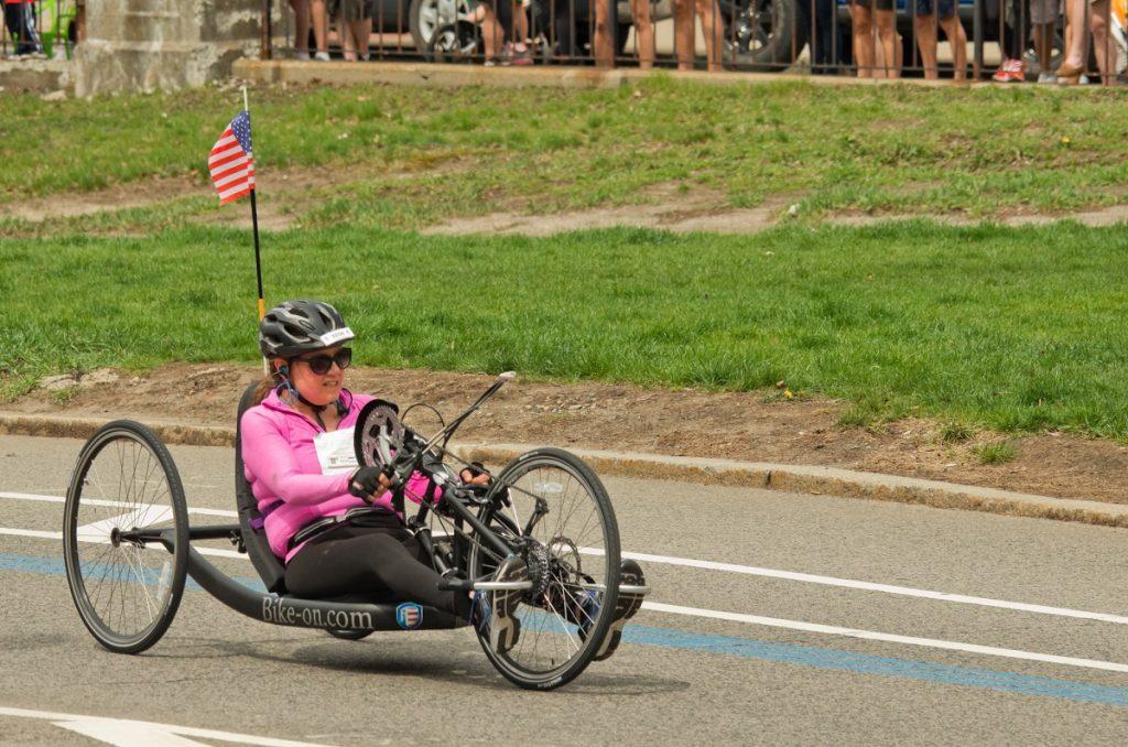 Wheelchair racing contestant at Boston marathon