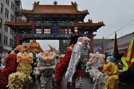 Lion dancers at Chinatown Gate, 2011 Chinese New Year Photo by Joe Mabel Photo by Joe Mabel (CC3)