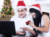Couple Christmas shopping online