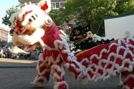 Lion dance at Seattle's Chinatown-International District Night Market, Hing Hay Park Photo by Joe Mabel (CC3)