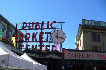 Pike Place Market clock sign