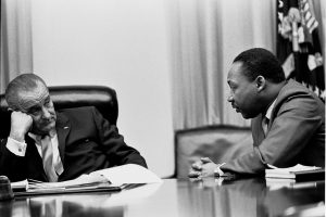 President Lyndon B. Johnson meets with Martin Luther King, Jr. in the White House Cabinet Room 18 March 1966 (public domain)