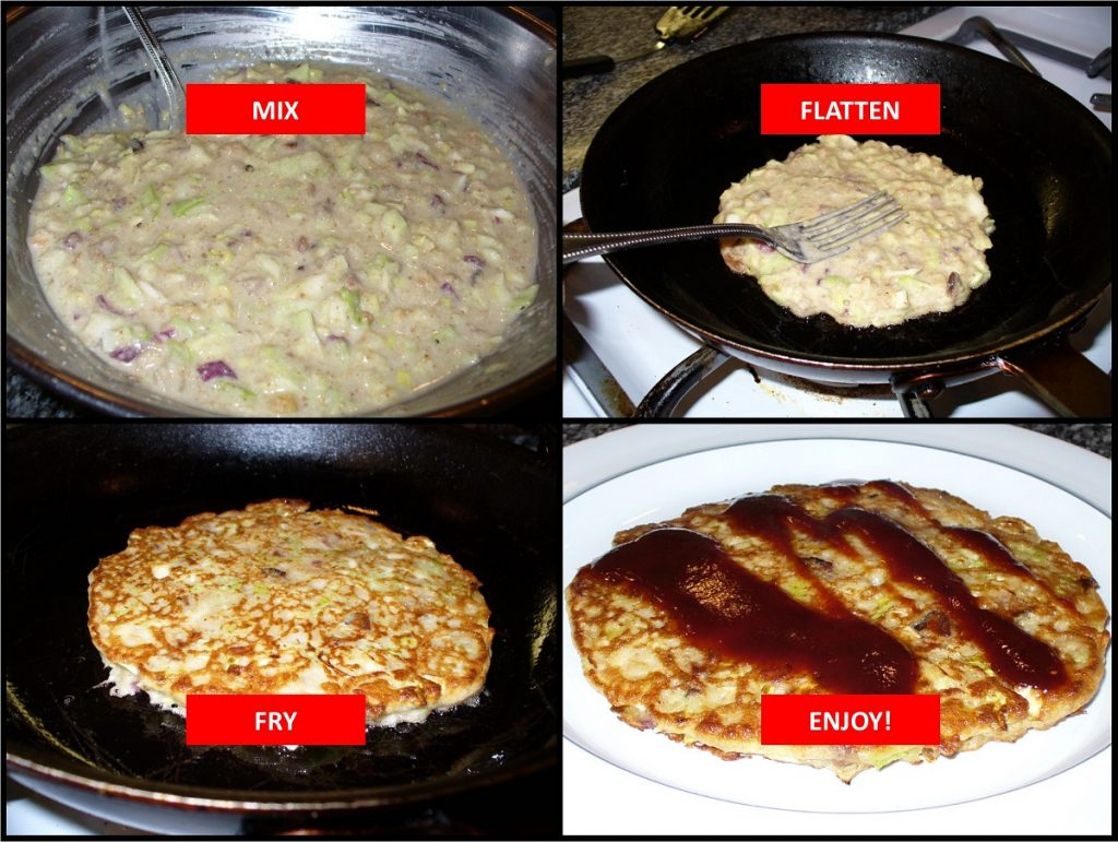 How to make okonomiyaki. Photos by Carole Cancler.