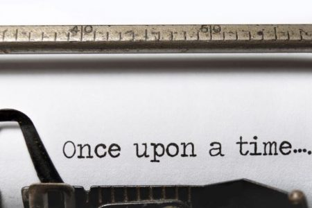 "Typewriter with ""once upon a time"" beginning"