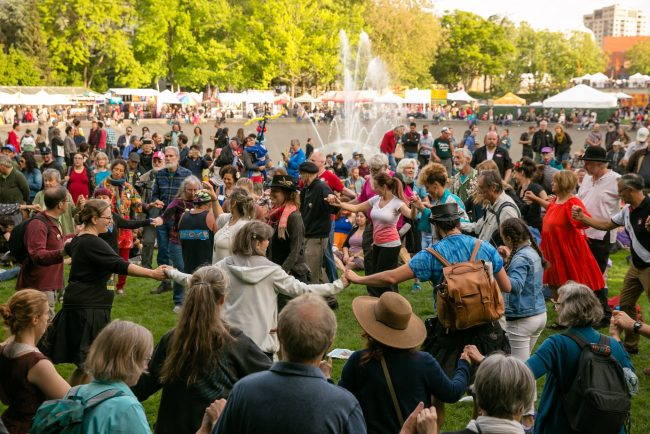 Folklife festival 2018 at Seattle Center fountain