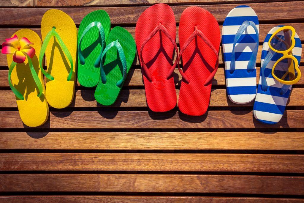 flip flops on a deck