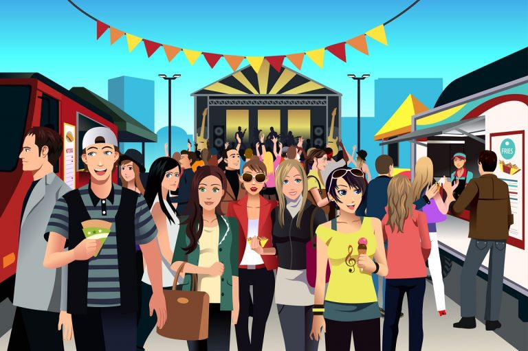 Illustrated street food festival scene