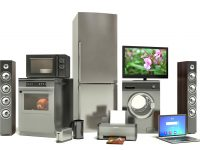 Home appliances: refrigerator, range, microwave, washing machine, laptop, tv photo by StockerNumber2 - DepositPhotos.com