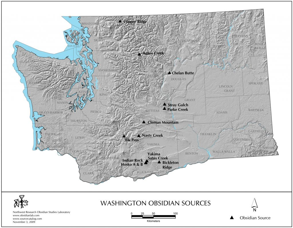 Washington State map of obsidian sources by Northwest Research Obsidian Studies Laboratory www.obsidianlab.com