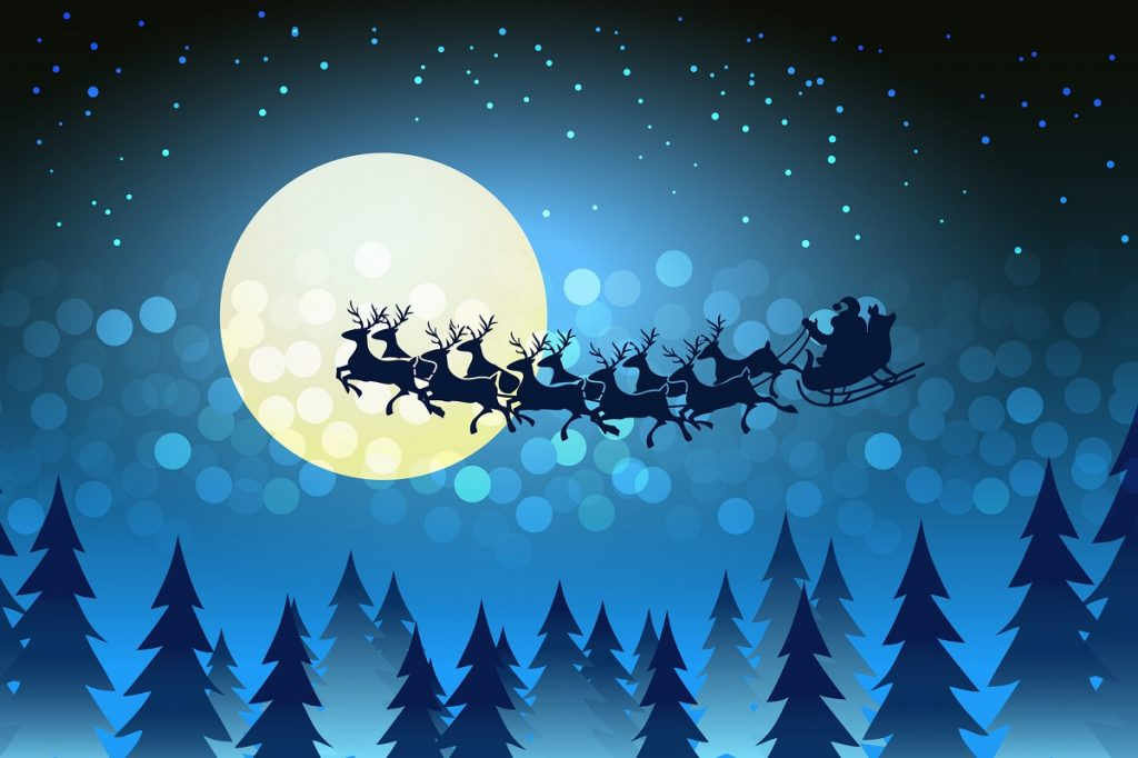 Santa and his reindeer by moonlight Vector by MSSA - DepositPhotos.com