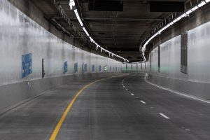 WSDOT SR 99 tunnel northbound lane stripes (CC2)