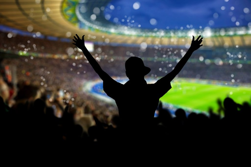 fans cheering the game at a stadium - DepositPhotos.com