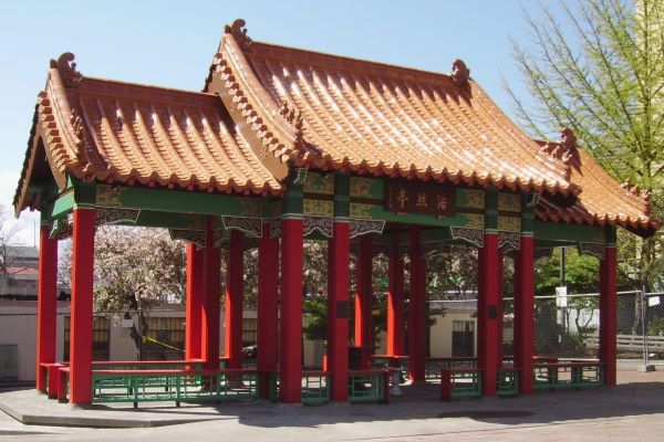 Seattle Chinatown Hing Hay Park pavilion 2015 photo by Seattle Parks (CC2)