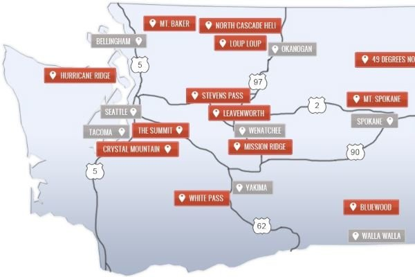 Washington State ski resorts location map