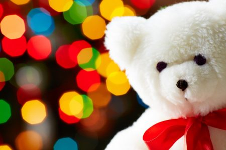 Teddy bear and Christmas lights