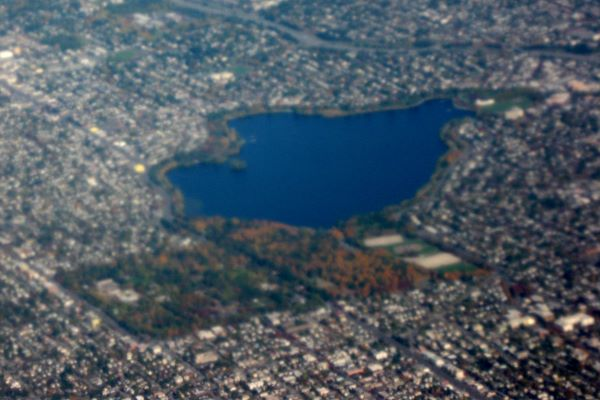 Aerial view of Woodland Park and Green Lake in Seattle