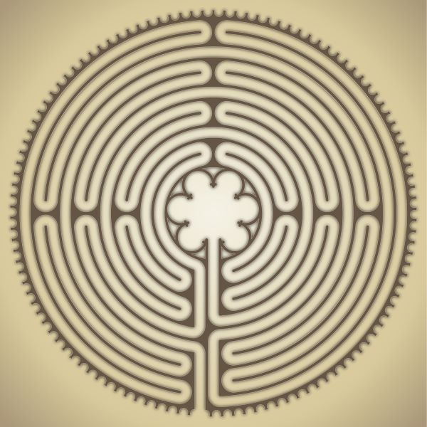 Labyrinth pattern for Chartres cathedral near Paris, France