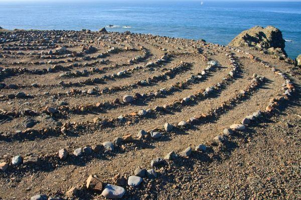 Stone labyrinth by the sea
