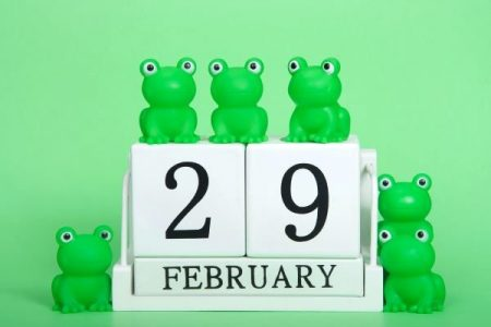 Leap year day Feb 29 poster with green frogs
