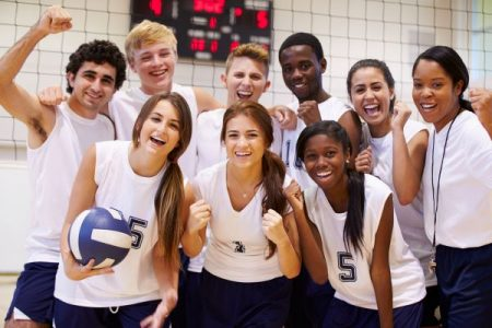 Group of young volleyball team players