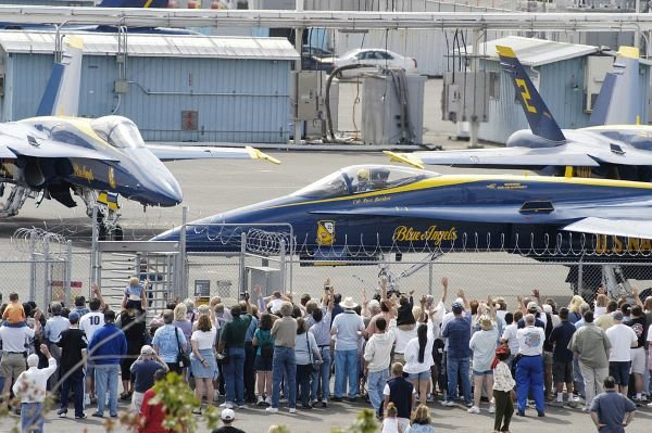 U.S. Navy Blue Angels at Seattle Museum of Flight photo by Mate 2nd Class Eli J. Medellin. [Public domain]