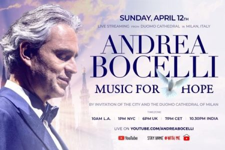 Andrea Bocelli Duomo cathedral Milan Easter 2020