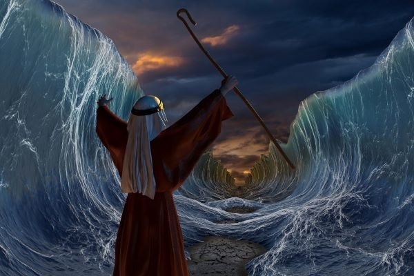 Moses parting the Red Sea