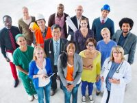diverse group of working employees