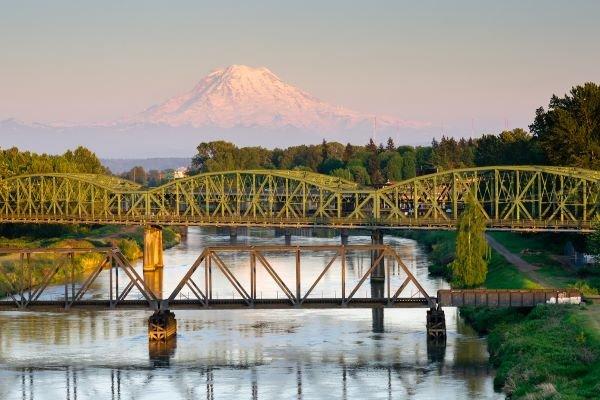View of Mount Rainier and Puyallup Bridge in Tacoma, Washington
