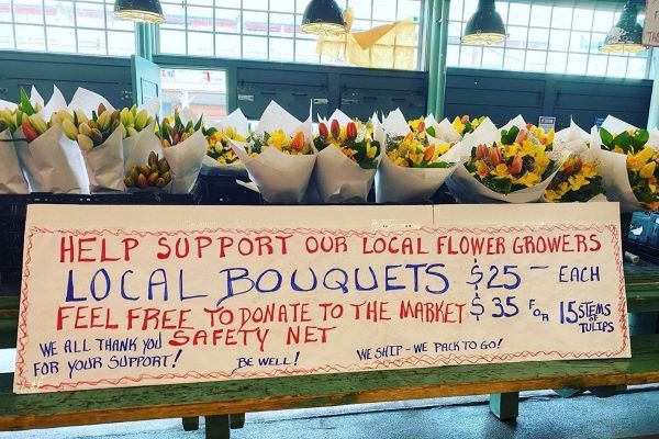 Pike Place Market Flower Farms sign