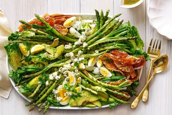 Sunset Magazine Grilled Asparagus and Prosciutto Cobb Salad