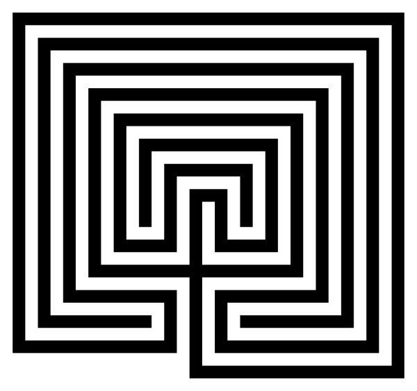 square labyrinth based on Cretan design (public domain)