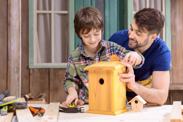 Man and son using woodworking tools to build a bird house