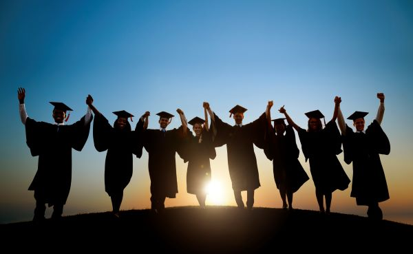 Group of graduates in caps and gowns